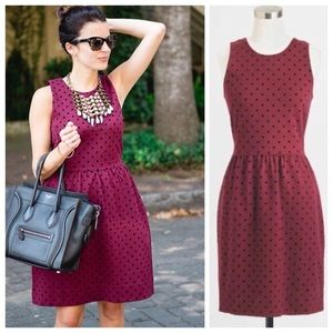 J. Crew Maroon Velvet Polka Dot Sleeveless Dress